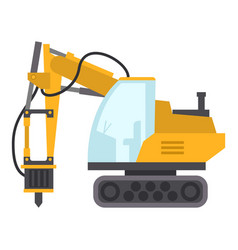 excavator hammer icon flat style vector image vector image