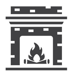 fireplace solid icon furniture and interior vector image vector image