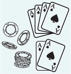 Gambling Cards and chips vector image