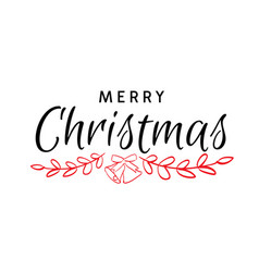 merry christmas hand drawn text vector image vector image