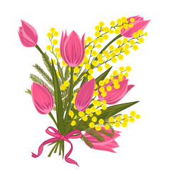 spring floral background with beautiful bouquet of vector image
