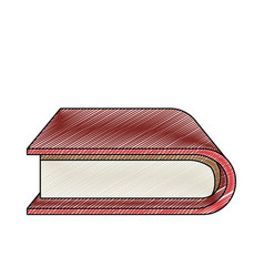 Color crayon stripe silhouette of thick book with vector