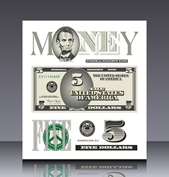 Miscellaneous US bill elements vector image vector image