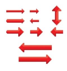 red pixel style arrow set vector image