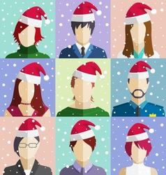 Set of christmas people faces in hat in snowfall vector