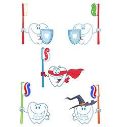 Tooth Cartoon Characters-Collection vector image
