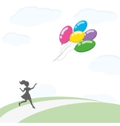 Girl with balloons2 vector image