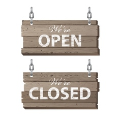Open and closed wooden signs vector image vector image