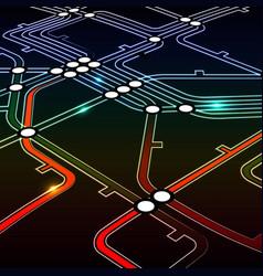 Perspective background of metro scheme vector image vector image