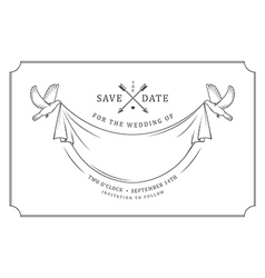 Vintage wedding invitation stamp vector image