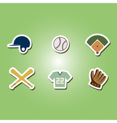 color set with baseball icons vector image vector image