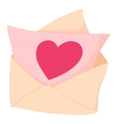 Envelope with pink valentine heart icon vector image vector image