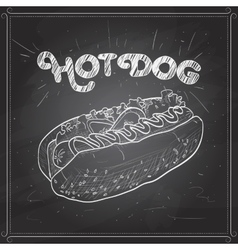 hot dog scetch on a black board vector image vector image