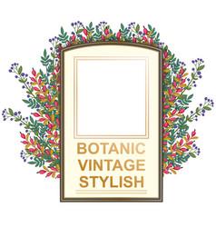 retro doodle floral frame vector image