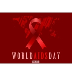 World Aids Day with red ribbon and grunge map vector image vector image