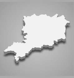 3d isometric map vas is a county hungary vector