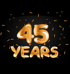 45 years anniversary celebration gold card vector