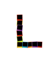 Alphabet L with colorful polaroids vector image vector image