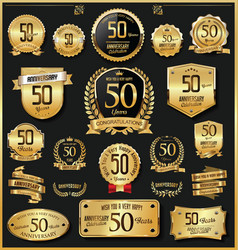 Anniversary retro vintage golden badges and vector