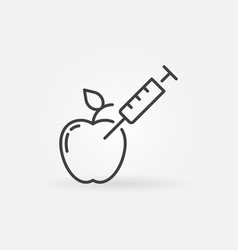 apple with syringe biotechnology concept vector image