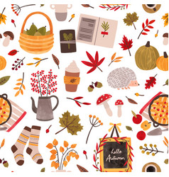 Autumn mood hand drawn seamless pattern vector