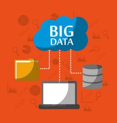 big data computer laptop storage file folder cloud vector image
