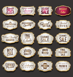 blank golden frames and labels collection vector image