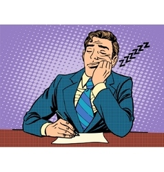 Boring report a man fell asleep on lectures vector