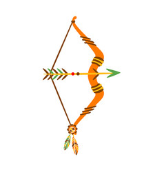 Bow with arrow decorated with feathers native vector