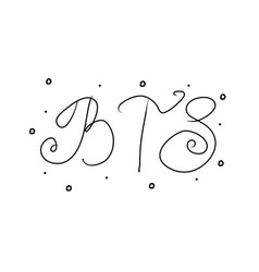 Bts abbreviation hand lettering for concept vector