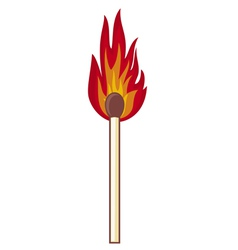 Burning match stick on a white background vector image