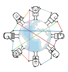 Cartoon connected people on earth vector