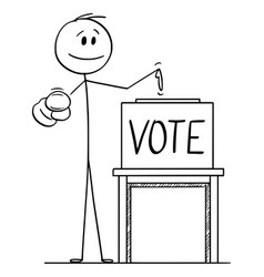 Cartoon man pointing at voter or elector and vector