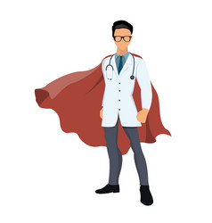 cartoon super hero doctor with red cape vector image