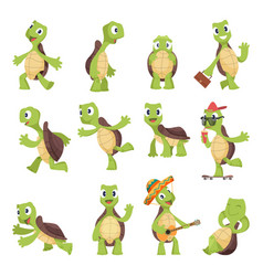 cartoon turtles happy funny animals running vector image