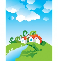 cartoon village landscape vector image