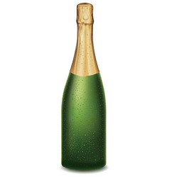 champagne bottle with many fresh drops vector image