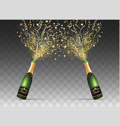 Champagne confetti bottles on transparent vector