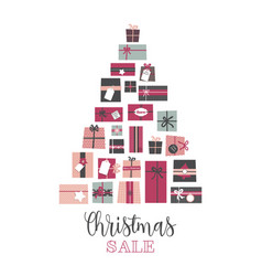 christmas sale pile of presents arranged vector image