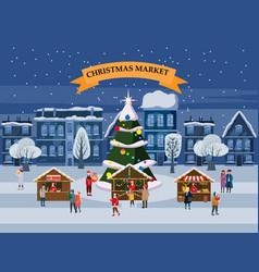 Christmas village winter city souvenirs market vector