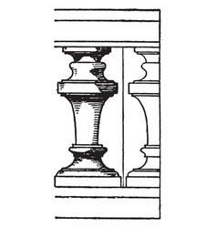 circular baluster supports vintage engraving vector image