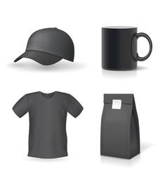 Classic black promotional souvenirs design set vector
