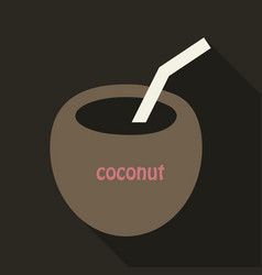 coconut cocktail icon in cartoon style isolated vector image