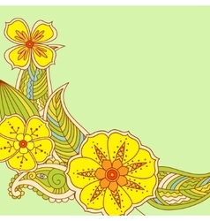 Colorful flowers in Mehendi style on green vector image