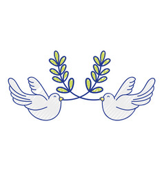 Cute doves animal with branches to peace symbol vector