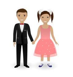 cute kids in elegant festive clothing vector image