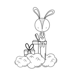cute little rabbit with giftbox character vector image
