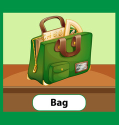Educational english word card school bag vector