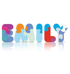 EMILY written with alphabet puzzle vector