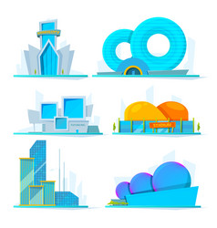 fantastic buildings future cartoon vector image